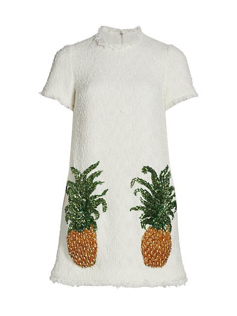 Pineapple-Embroidered Tweed Shift Dress
