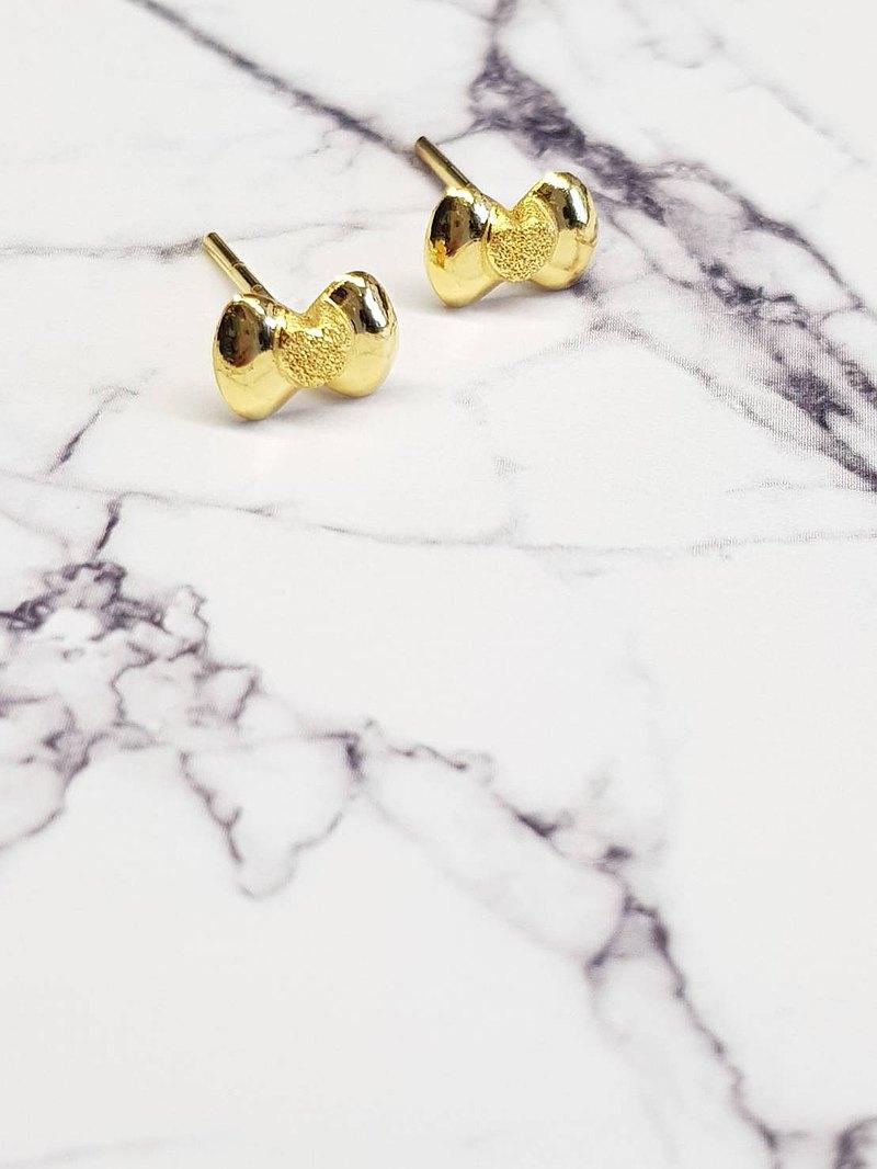 蝴蝶結耳針-黃金9999 后宮金飾