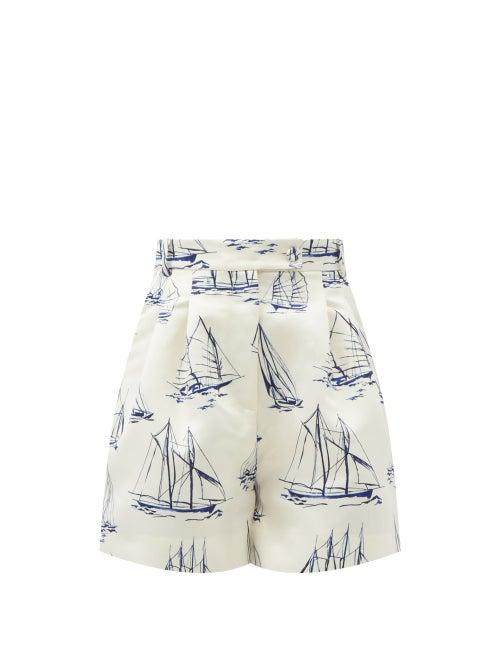Emilia Wickstead - Elliot High-rise Boat-print Faille Shorts - Womens - Blue White