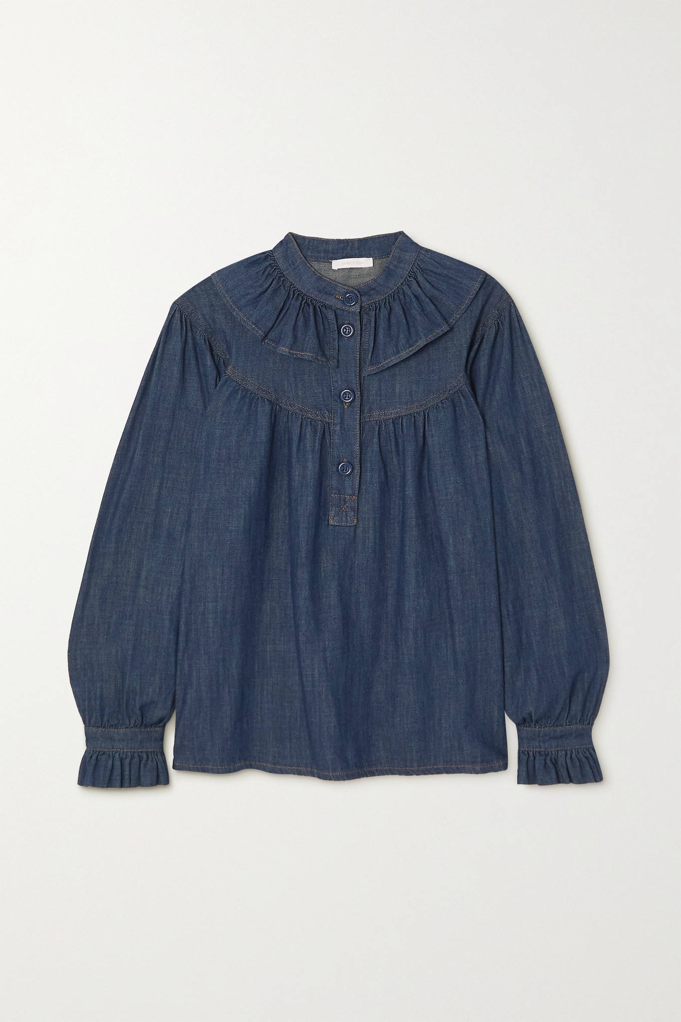 SEE BY CHLOÉ - Ruffled Denim Blouse - Blue - FR36