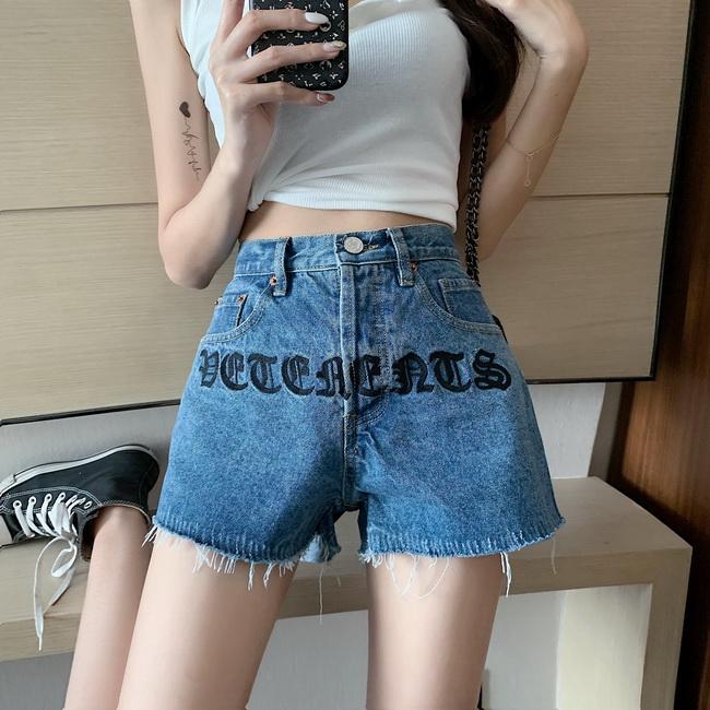 FOFU-刺繡chic高腰牛仔短褲女韓版顯瘦百搭熱褲潮【08SG05487】