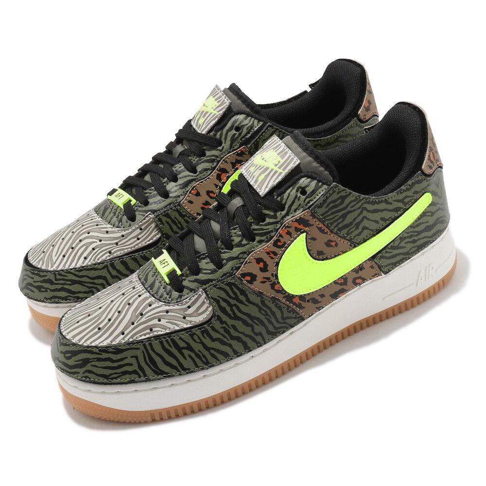 NIKE 休閒鞋 AF 1/1 運動 男女鞋 經典款 舒適 情侶穿搭 造型拼貼鞋面 綠 棕 [DM5329-200]