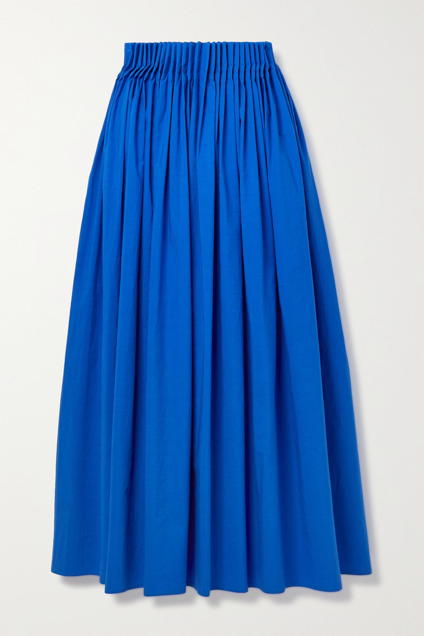JASON WU - Pleated Cotton-poplin Midi Skirt - Blue - US10
