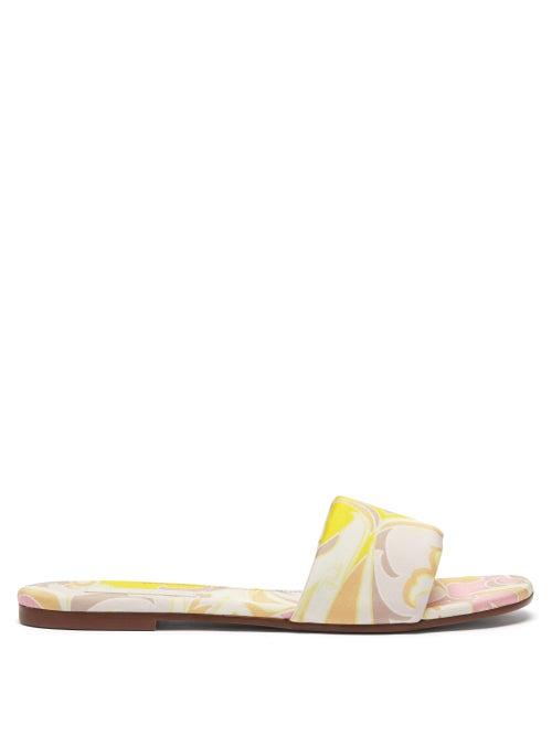 Emilio Pucci - Tropicana-print Cotton-twill Slides - Womens - Pink Multi