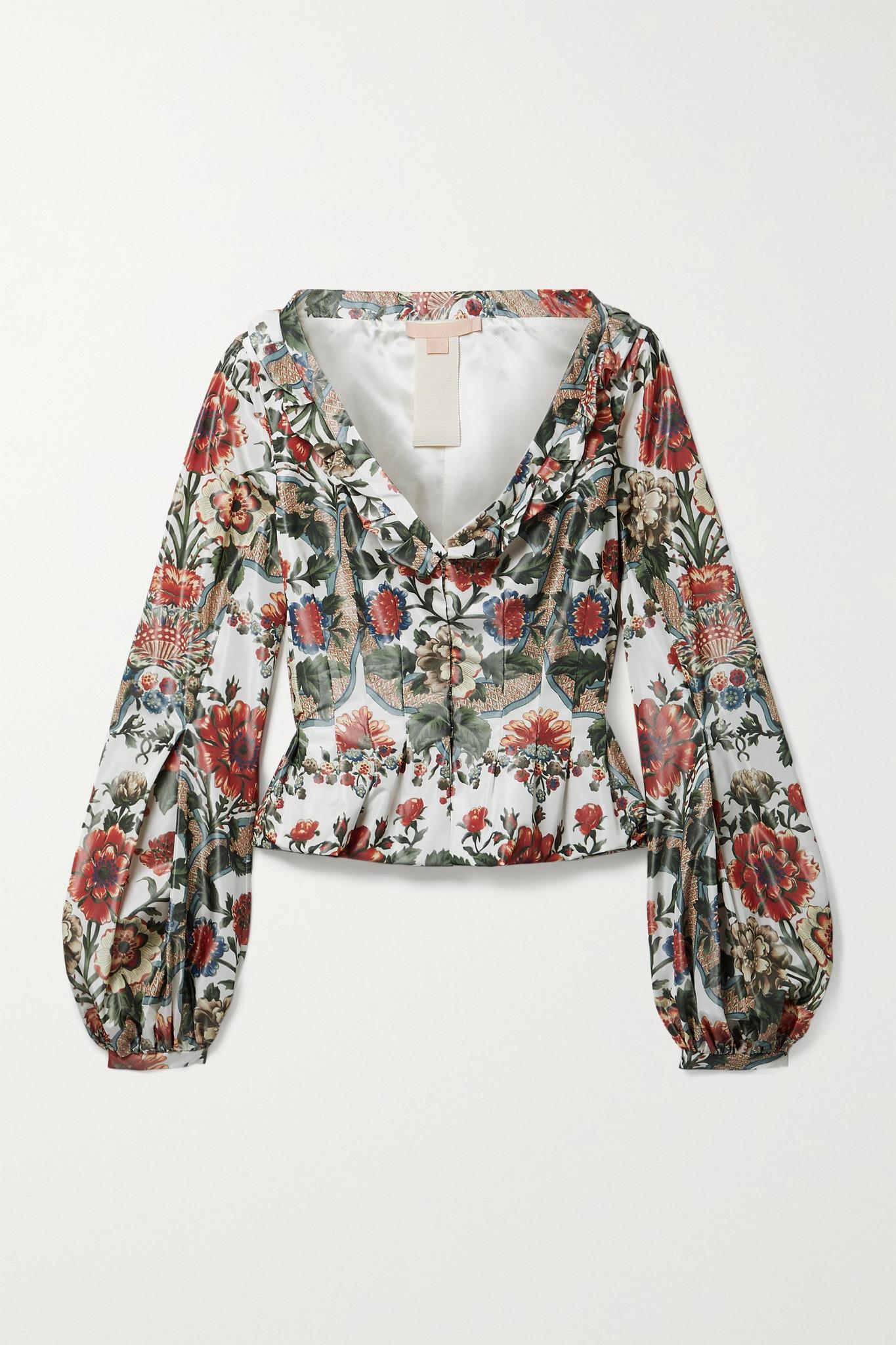 BROCK COLLECTION - Sabrina Ruffled Floral-print Taffeta Jacket - Green - US0