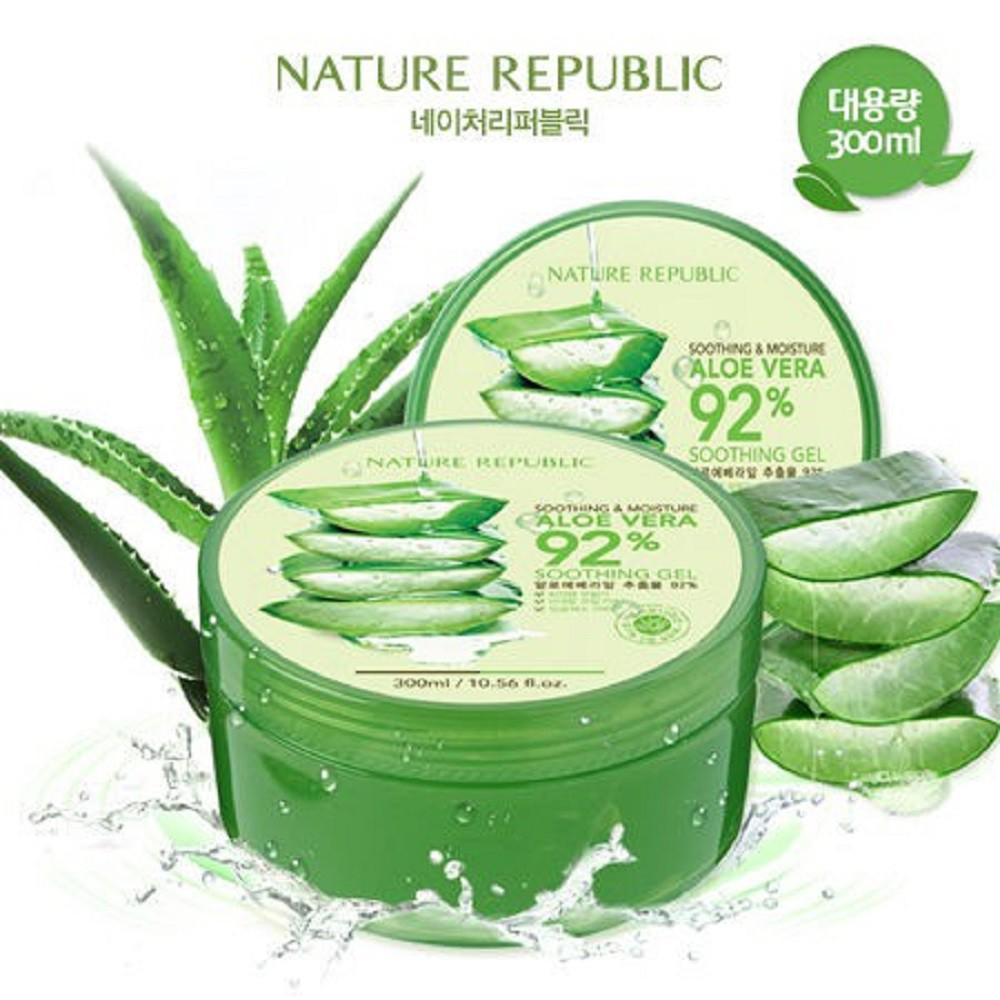 【豐食堂商城】韓國 NATURE REPUBLIC 92% Aloe Vera 蘆薈舒緩&保濕凝膠 300ml
