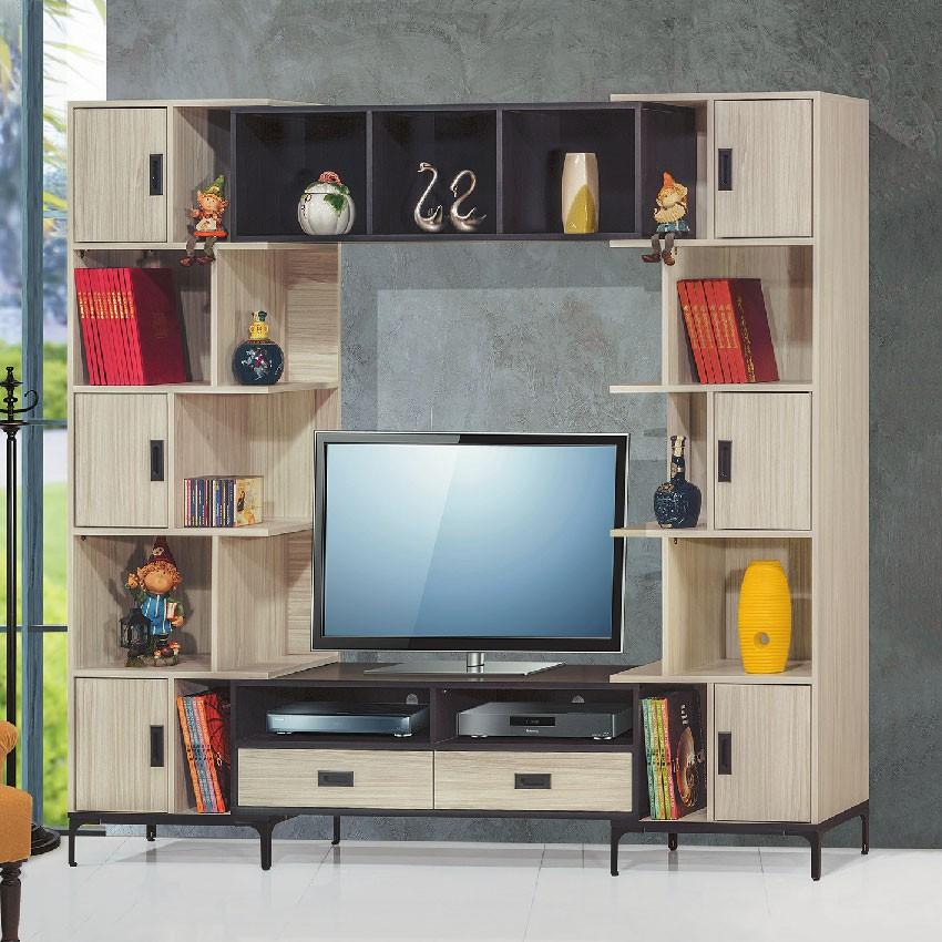 【185~230cm伸縮電視牆-E397-1】客廳組合長櫃 展示收納櫃 北歐工業風 TV櫃 【金滿屋】