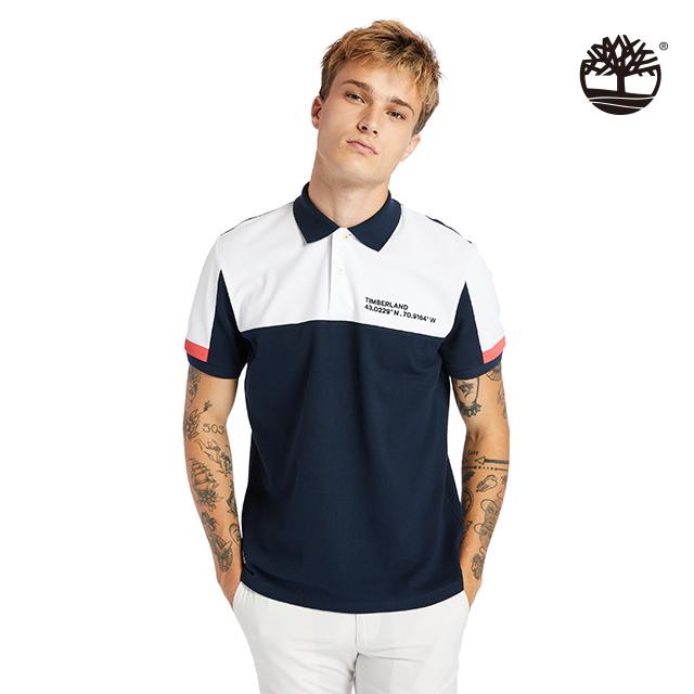 Timberland 男款深寶石藍色塊拼接短袖POLO衫|A24P8U10