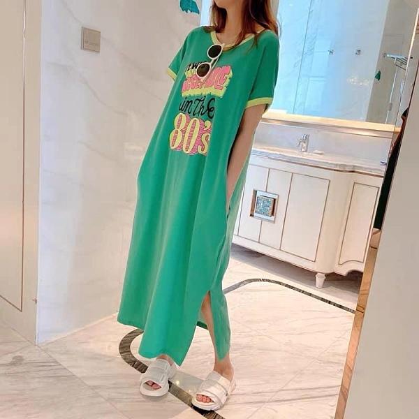 洋裝 正韓春夏新款字母拼色長T連身裙 花漾小姐【預購】