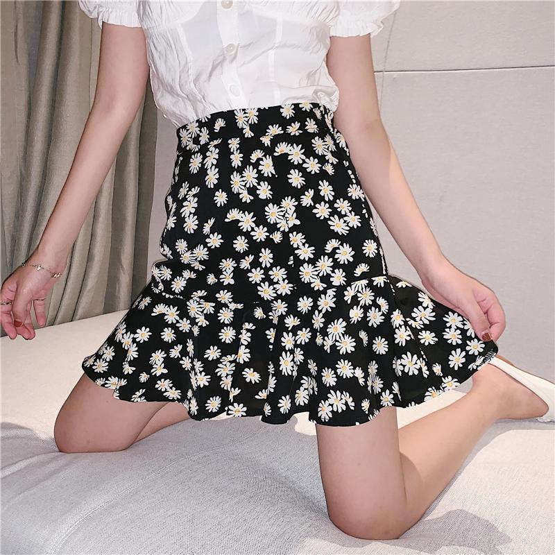 A字裙 夏季有內里拉鏈短裙 小雛菊半身裙女碎花裙雪紡裙子