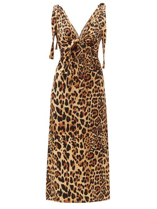 Paco Rabanne - Knotted-shoulder Leopard-print Jersey Dress - Womens - Leopard