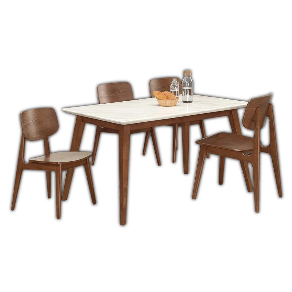 Boden-溫克4.7尺胡桃色石面餐桌椅組合(一桌四椅)(曲木餐椅)