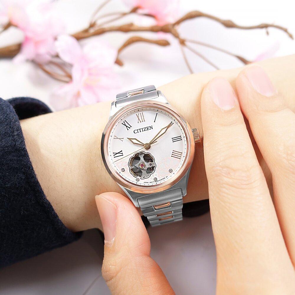 CITIZEN / PC1008-89A / 花漾鏤空 機械錶 不鏽鋼手錶 銀白x鍍玫瑰金 34mm