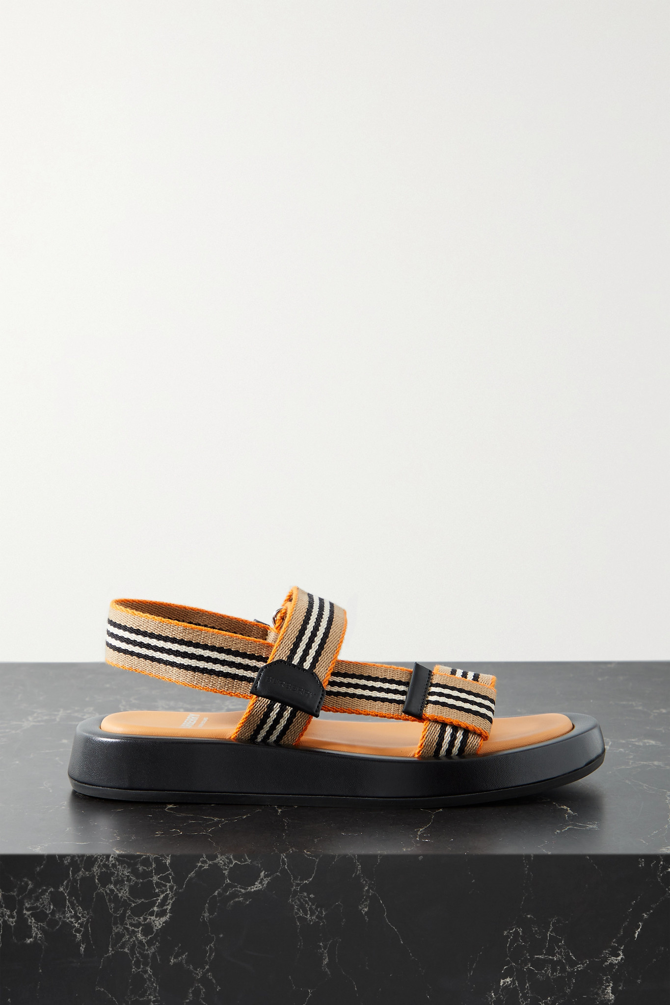BURBERRY - Leather-trimmed Striped Canvas Sandals - Neutrals - IT41