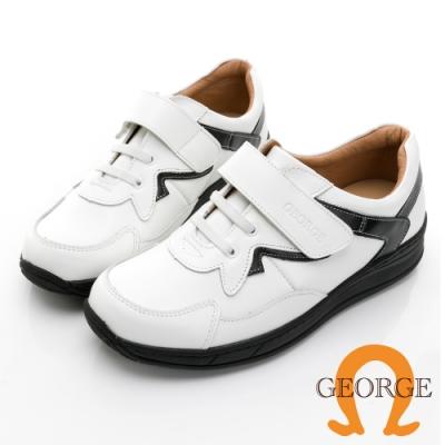 GEORGE 喬治皮鞋 氣墊系列 真皮剪裁配色拼接黏帶氣墊鞋 -白 118004HK