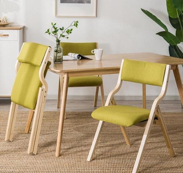 摺疊椅家用現代簡約北歐餐椅書桌椅子靠背椅便攜辦公木凳子簡易凳 晴天時尚