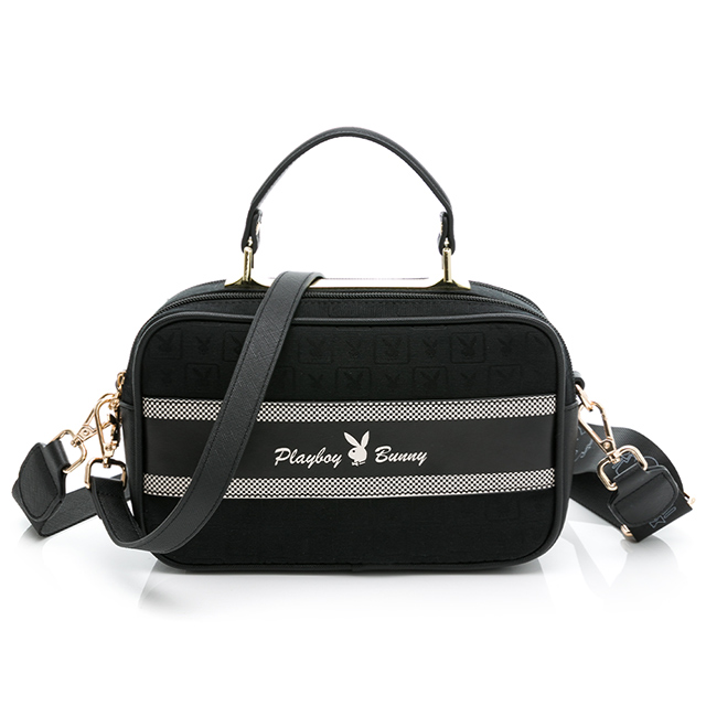 PLAYBOY-  手提包-附長短背帶 Square方格兔緹花系列 - 黑色