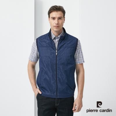 Pierre Cardin皮爾卡登 男裝  立領雙層色輕薄背心-丈青(5187301-38)