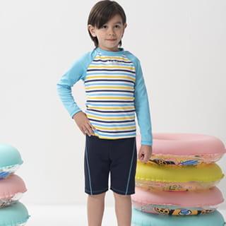 【SARBIS】兒童兩截式長袖防曬泳裝 泡湯專用附泳帽B662003