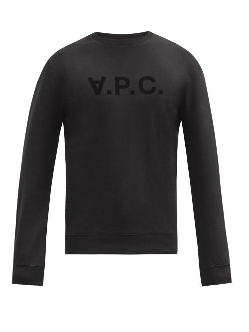 A.P.C. - Logo-print Cotton-jersey Sweatshirt - Mens - Black