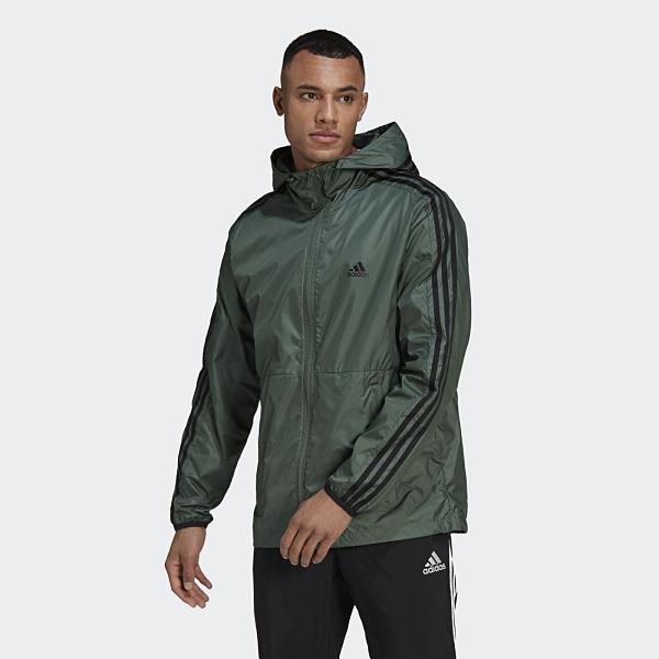Adidas 3-Stripes 男款綠色連帽運動外套-NO.GQ0601