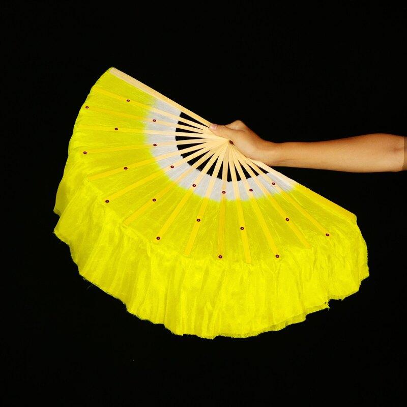 真絲舞蹈扇 廣場舞扇子左右手表演一對加長舞蹈扇雙面真絲跳舞扇膠州秧歌扇子 【CM1217】