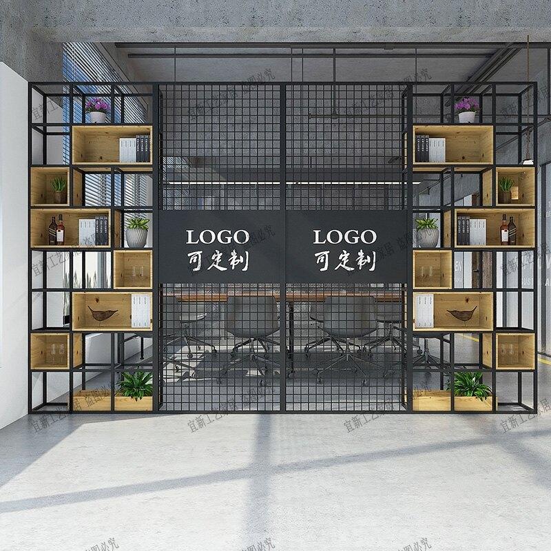 鐵藝屏風 鐵藝隔斷辦公室客廳餐廳鐵藝屏風花架展示架鐵網玄關公司置物架