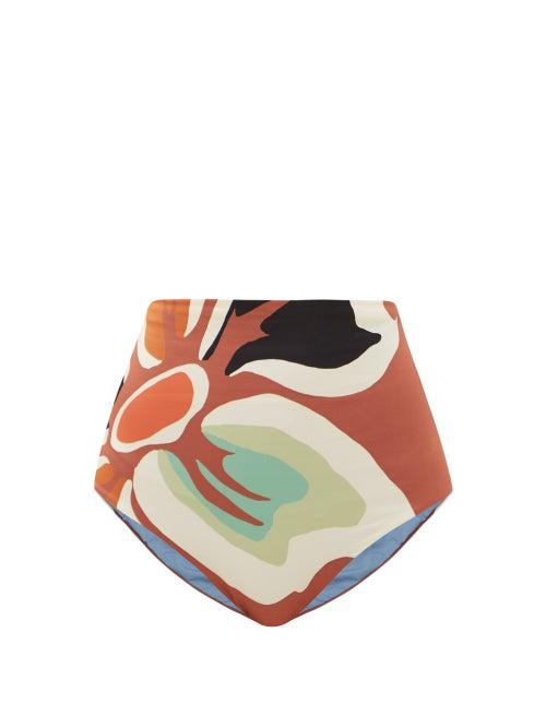 Cala De La Cruz - Elisa High-rise Floral-print Bikini Briefs - Womens - Brown Print