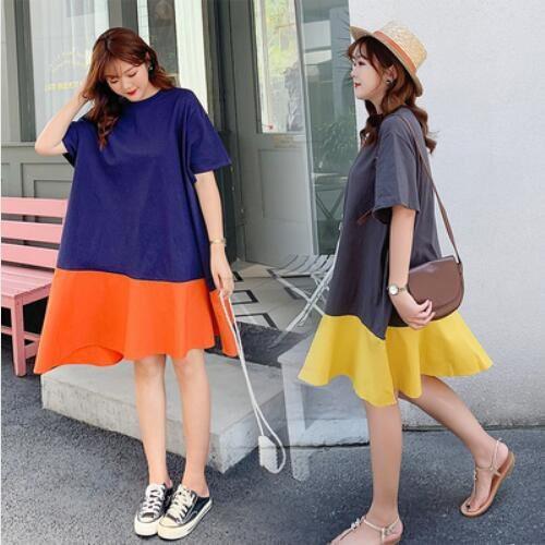 洋裝 休閒裙 長版衣L-2XL新款大碼簡約寬鬆休閒特色拼接 T卹裙N818-201.胖胖美依