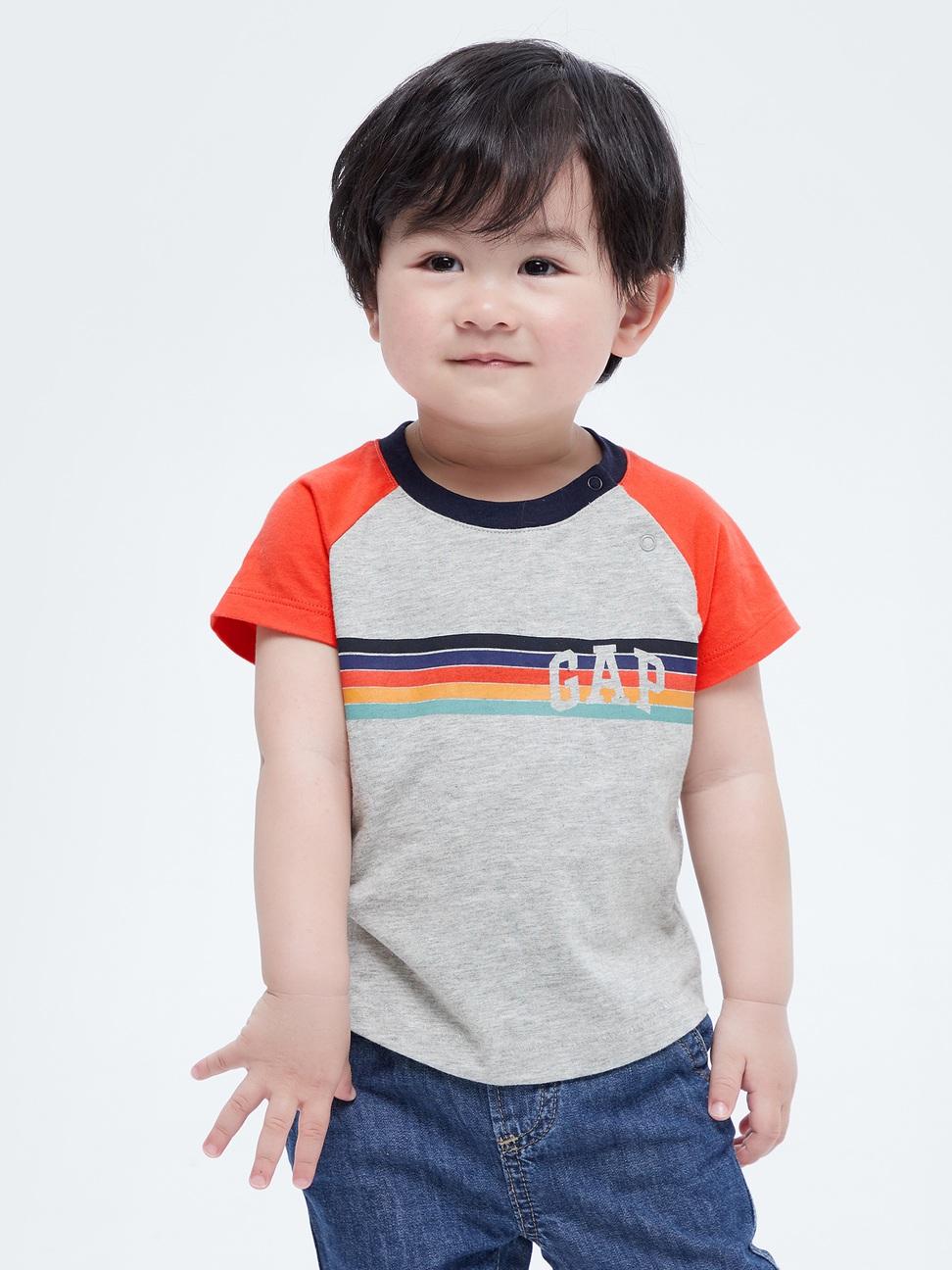 嬰兒 Logo撞色條紋短袖T恤