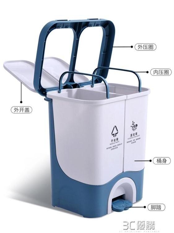 快速出貨 垃圾分類垃圾桶家用干濕分離雙桶腳踏客廳辦公室廚房用品腳踩帶蓋