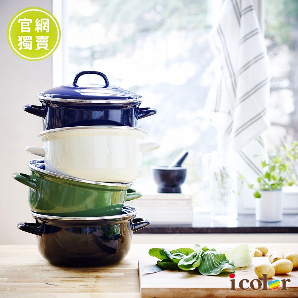 廠商配送  【荷蘭 BK】碳鋼琺瑯鍋 20cm 雙耳鍋(白色)