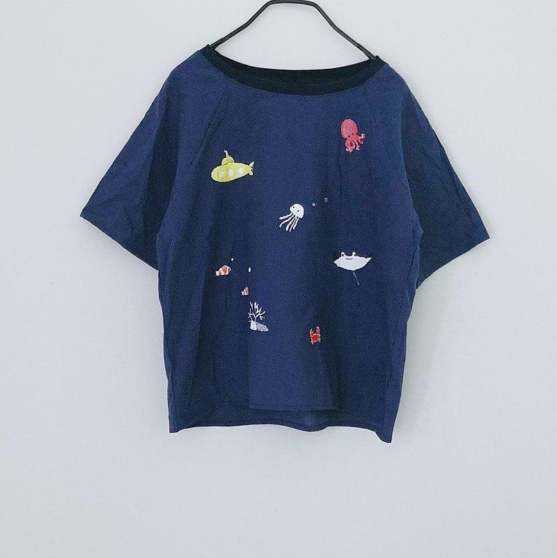 黃色潛水艇〜水下/深藍色亞麻上衣