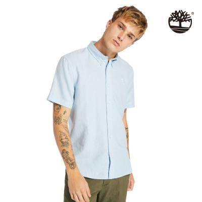 Timberland 男款天際藍亞麻棉質短袖襯衫|A24WG