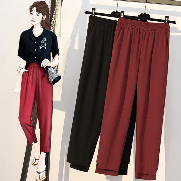 褲子 XL-5XL棉花糖中大碼女裝不規則氣質西裝休閑褲小腳蘿卜九分褲子.4F057.2096 胖胖美依