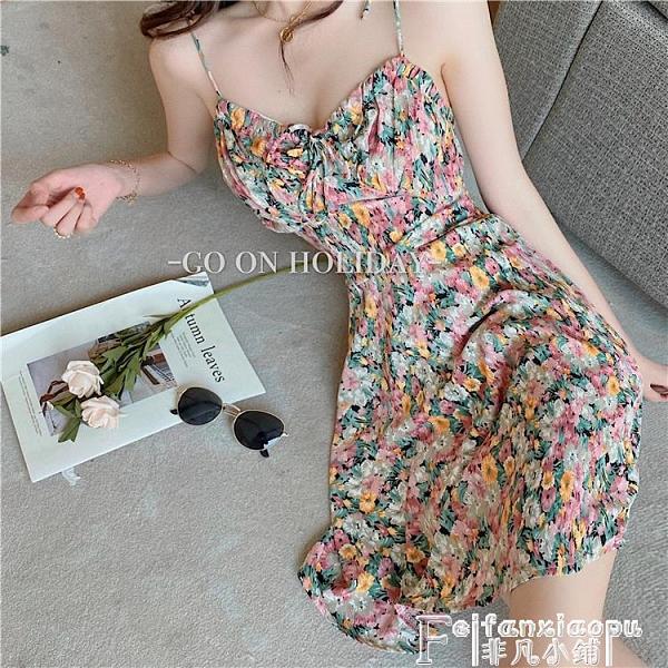 吊帶洋裝 韓版chic法式復古碎花吊帶連身裙女夏季新款V領內搭露肩打底裙子 非凡小鋪 新品