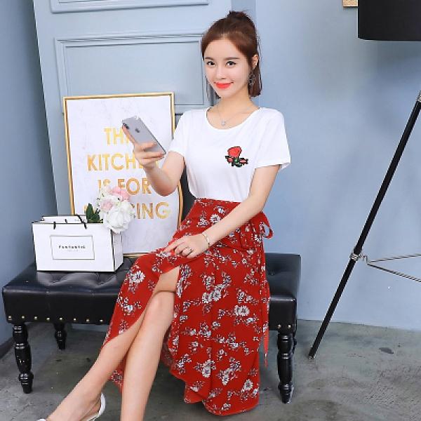 網紅小香風套裝韓版女裝夏裝碎花雪紡短袖裙子時尚套裝T303-B.1號公館