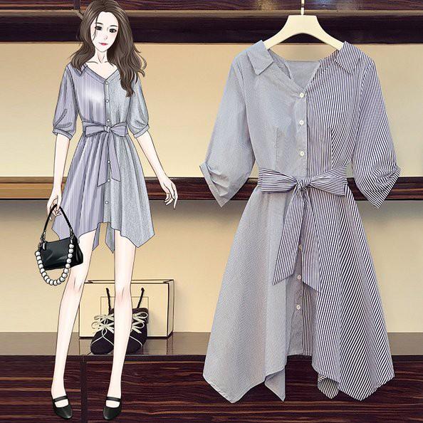 洋裝 一字肩 條紋裙 襯衫裙L-4XL中大尺碼時尚條紋顯瘦襯衫中長款連衣裙4F082.8827胖胖美依