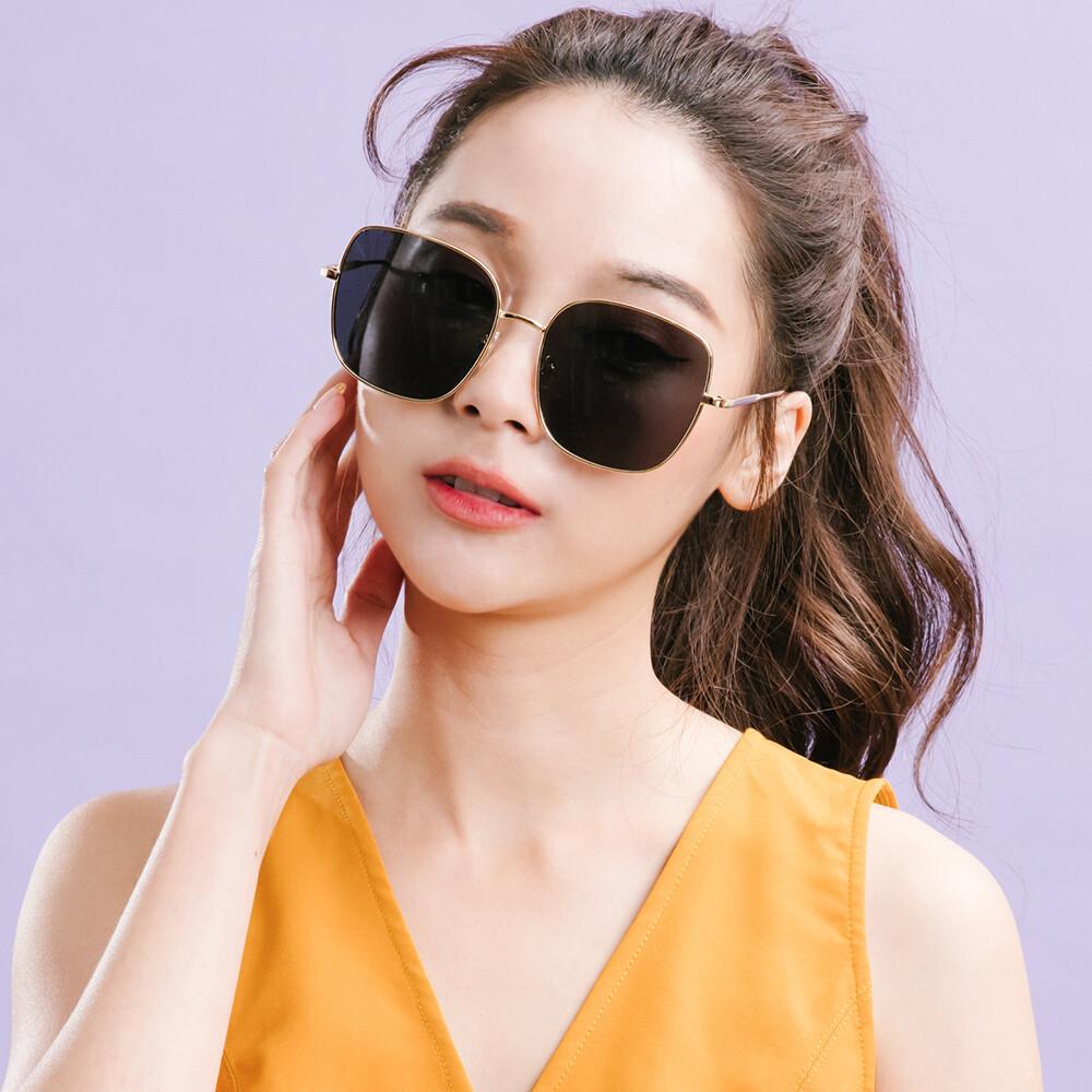 韓系超人氣品味黑微方金框偏光墨鏡uv400太陽眼鏡alegant