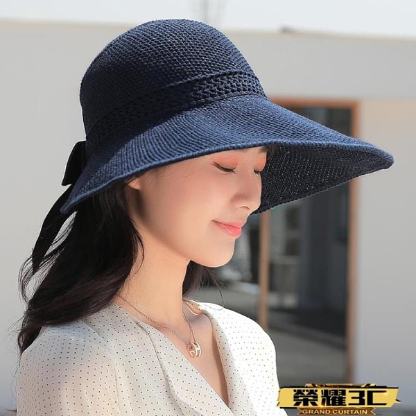 空頂帽 防曬遮陽大沿太陽帽防紫外線卷卷可折疊空頂涼帽女夏透氣時尚草帽   【榮耀 新品】
