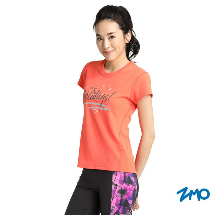 ZMO 女涼感短袖酷涼衣-橘紅TX624