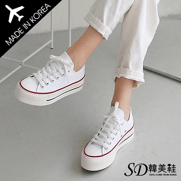 韓國空運 正韓製 嚴選優質帆布 時尚一字設計 撞色厚底帆布鞋【F713233】版型偏小 / SD韓美鞋
