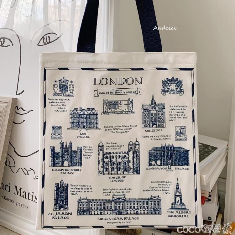 帆布包 ANDCICI@英國倫敦博物館~復古帆布包男女側背包大購物袋學生書包