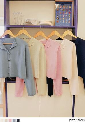韓國空運 - 小翻領純色短版針織外套