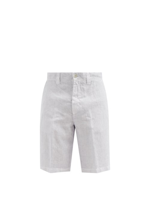 120% Lino - Straight-leg Linen Shorts - Mens - Light Blue