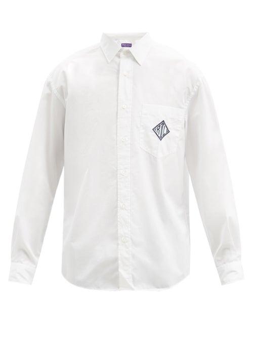 Ralph Lauren Purple Label - Philip Logo-embroidered Cotton-poplin Shirt - Mens - White