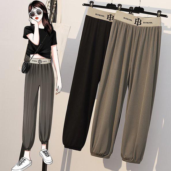褲子 鬆緊腰 縮口褲XL-5XL中大尺碼垂墜感薄款冰絲休閒褲子4F057.2268胖胖美依