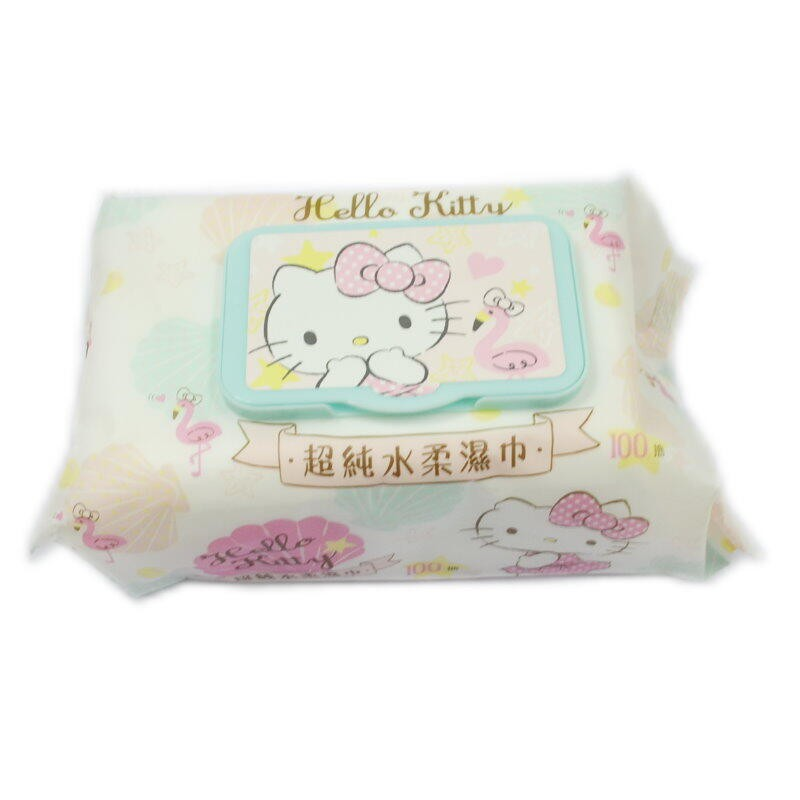 KITTY柔濕巾100抽 嬰兒純水濕紙巾100入 掀蓋式 加厚清潔濕巾 不含酒精.螢光劑【GE220】