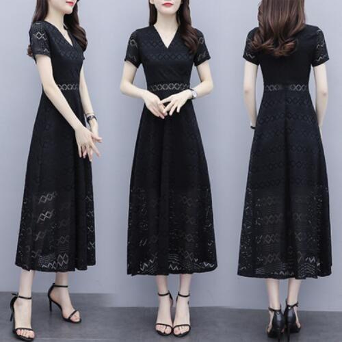 洋裝 連身裙 中大尺碼 M-4XL新款蕾絲氣質鏤空長款修身顯瘦v領收腰a字長裙 NB13A-8997.胖胖美依