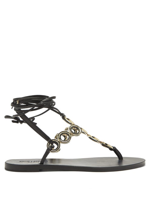 Saint Laurent - Sienna Ankle-tie Leather Sandals - Womens - Black